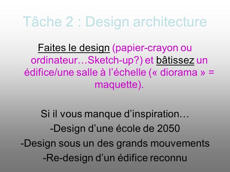 Tâche 2 : Design architecture Faites le design (papier-crayon ou ordinateur…Sketch-up?) et bâtissez un édifice/une salle à léchelle (« diorama » = maq