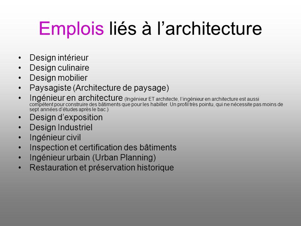 Emplois liés à larchitecture Design intérieur Design culinaire Design mobilier Paysagiste (Architecture de paysage) Ingénieur en architecture (Ingénie