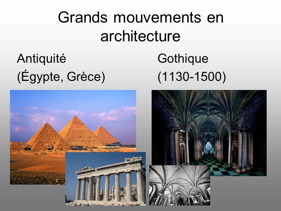 Grands mouvements en architecture Antiquité Gothique (Égypte, Grèce)(1130-1500)
