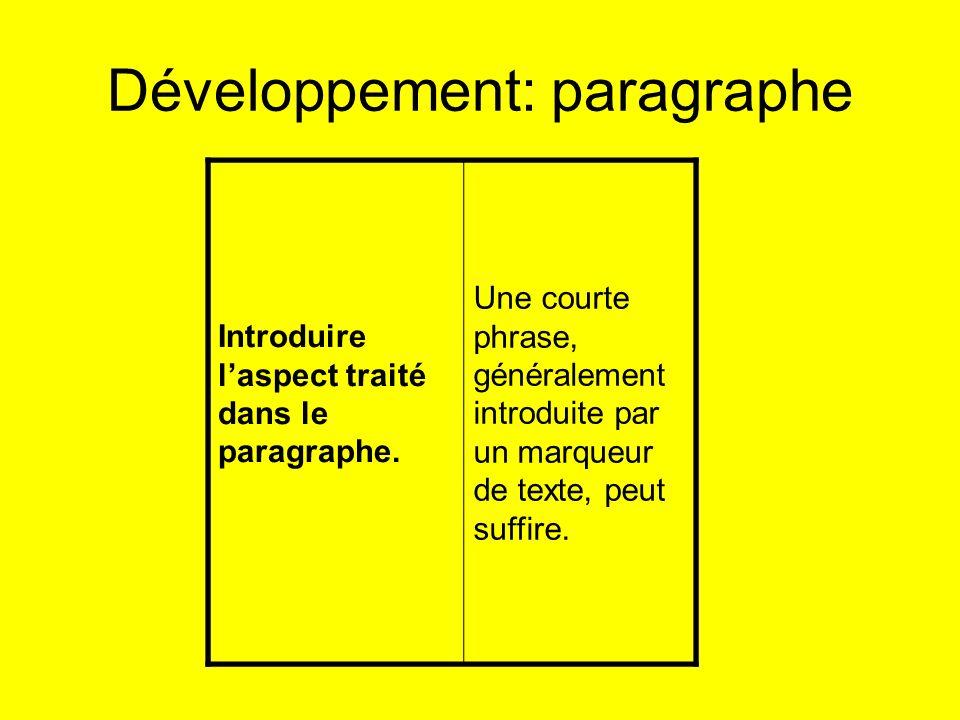 Développement: paragraphe Introduire laspect traité dans le paragraphe. Une courte phrase, généralement introduite par un marqueur de texte, peut suff