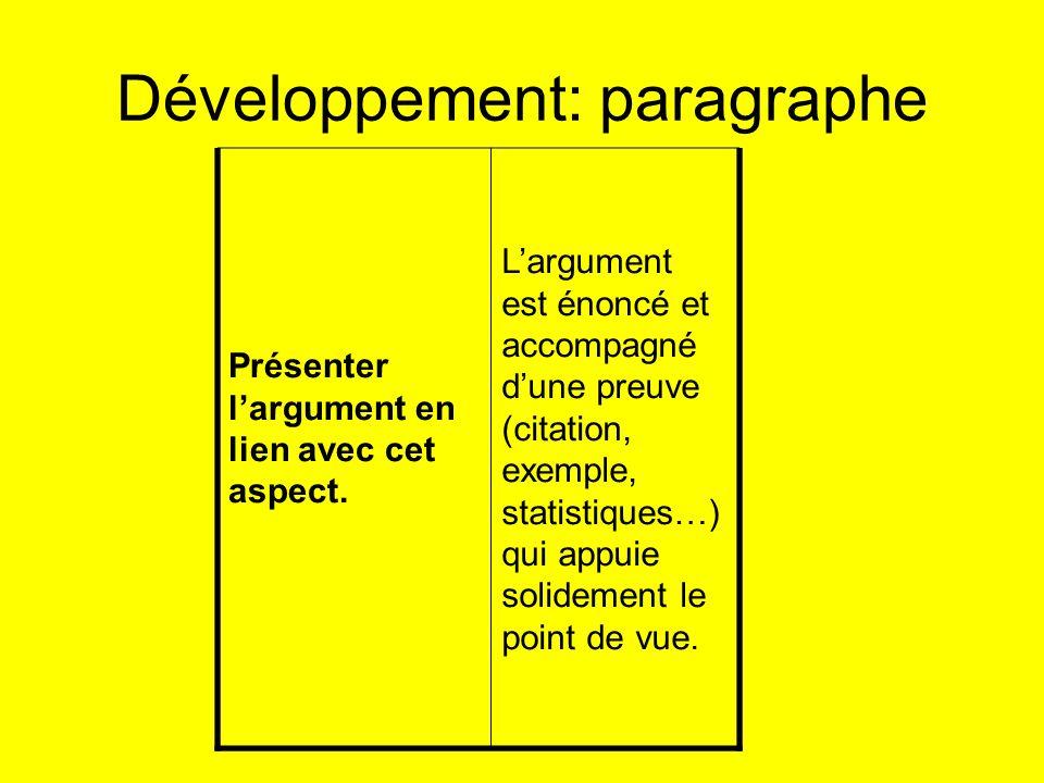 Développement: paragraphe Présenter largument en lien avec cet aspect. Largument est énoncé et accompagné dune preuve (citation, exemple, statistiques