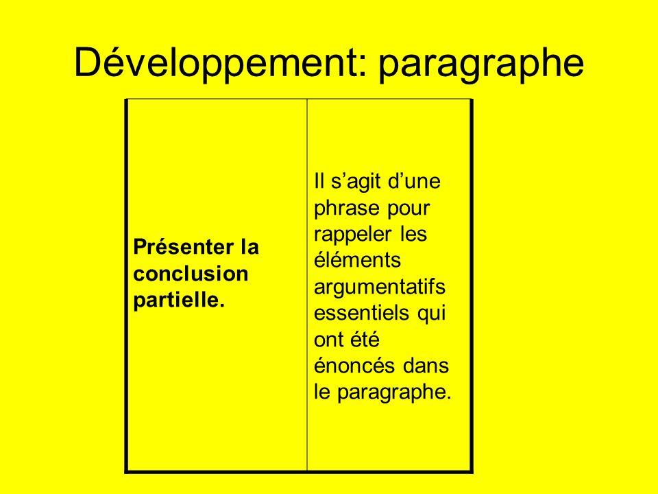 Développement: paragraphe Présenter la conclusion partielle. Il sagit dune phrase pour rappeler les éléments argumentatifs essentiels qui ont été énon