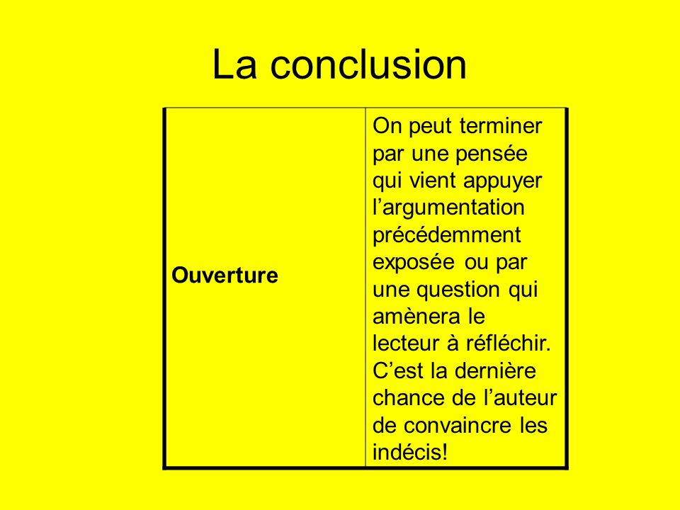 La conclusion Ouverture On peut terminer par une pensée qui vient appuyer largumentation précédemment exposée ou par une question qui amènera le lecte