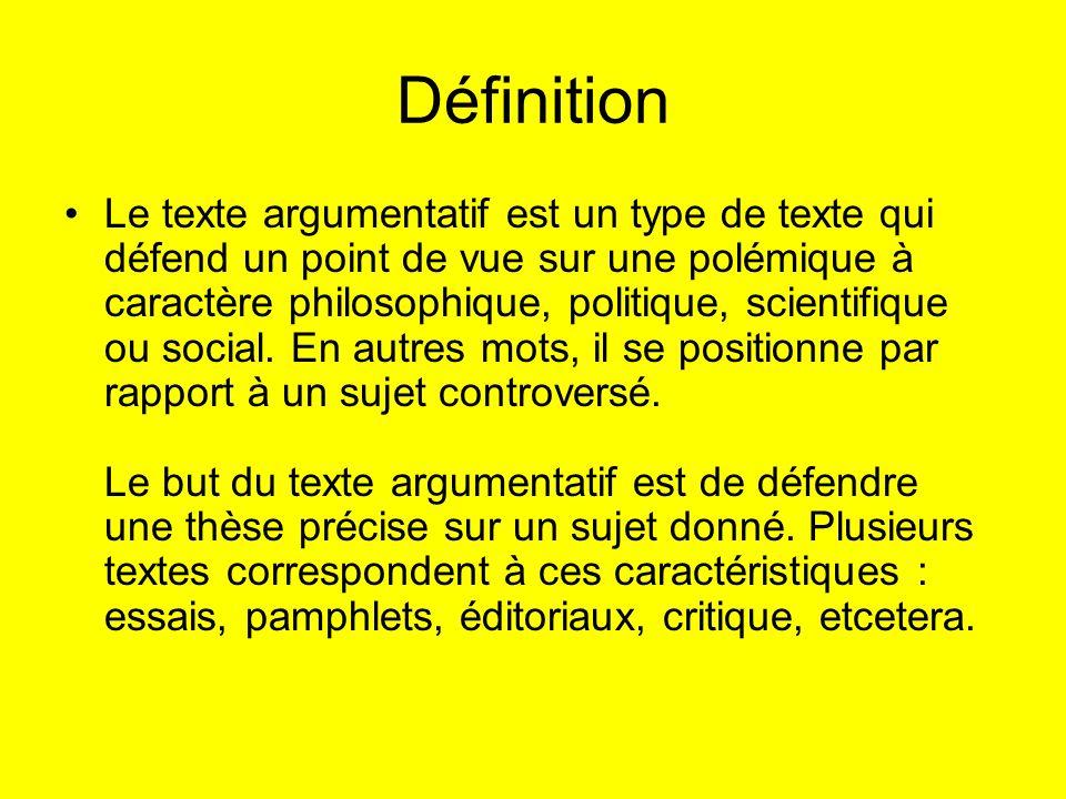 Définition Le texte argumentatif est un type de texte qui défend un point de vue sur une polémique à caractère philosophique, politique, scientifique