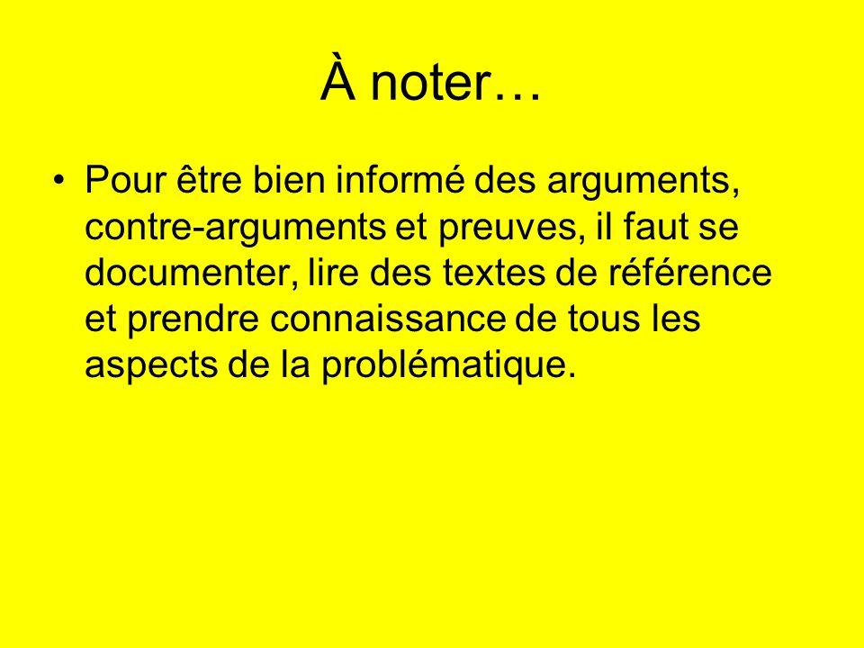 À noter… Pour être bien informé des arguments, contre-arguments et preuves, il faut se documenter, lire des textes de référence et prendre connaissanc