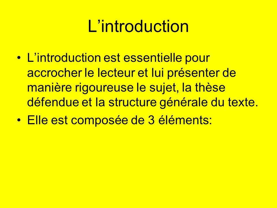 Lintroduction Lintroduction est essentielle pour accrocher le lecteur et lui présenter de manière rigoureuse le sujet, la thèse défendue et la structu