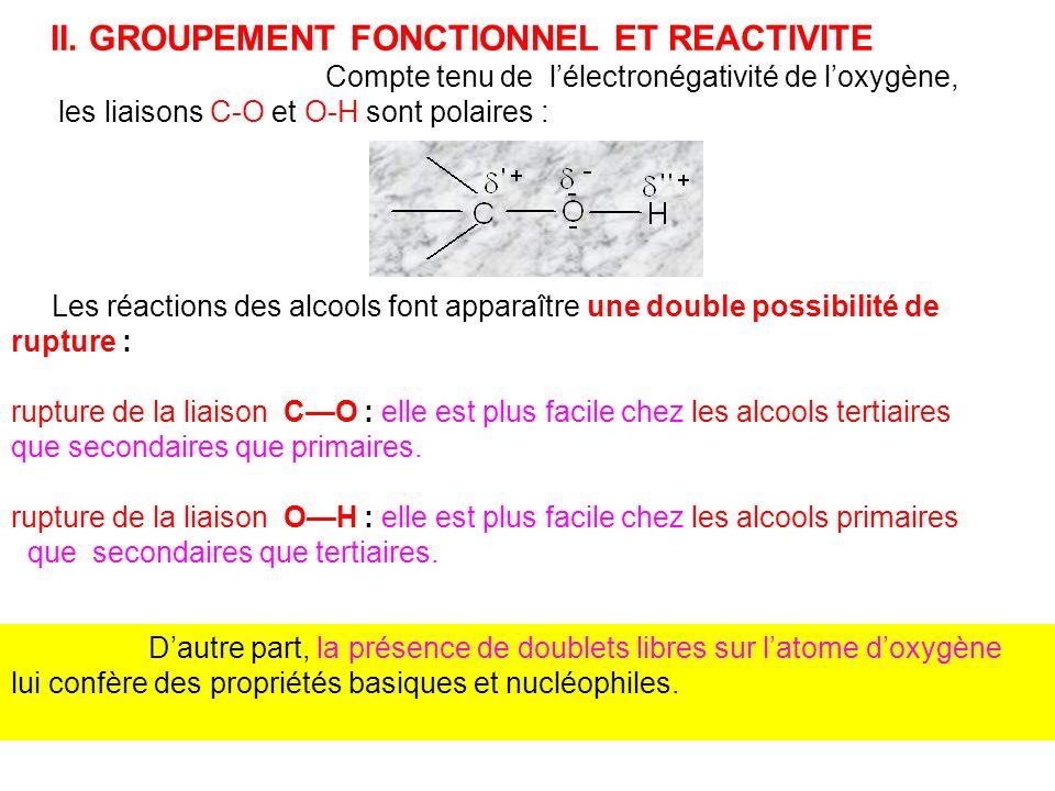 II. GROUPEMENT FONCTIONNEL ET REACTIVITE Compte tenu de lélectronégativité de loxygène, les liaisons C-O et O-H sont polaires : Les réactions des alco