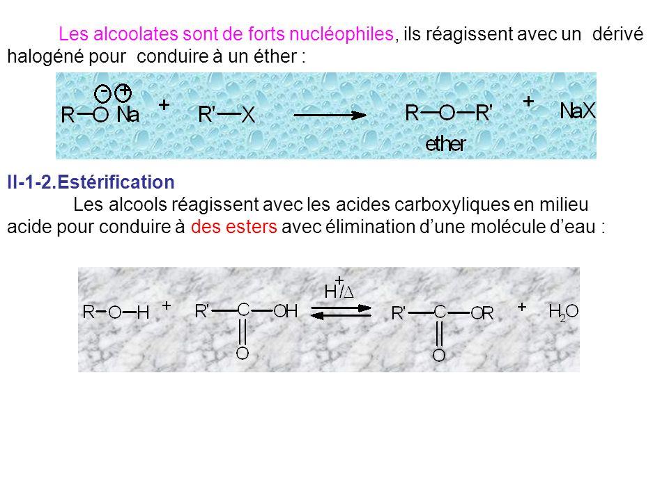 Les alcoolates sont de forts nucléophiles, ils réagissent avec un dérivé halogéné pour conduire à un éther : II-1-2.Estérification Les alcools réagiss
