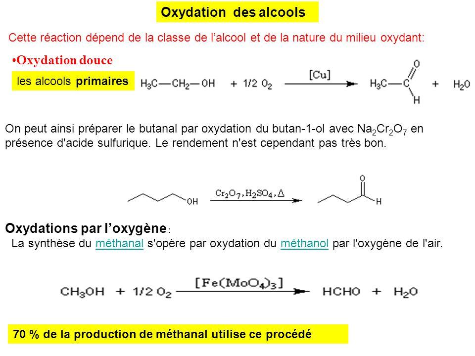 Oxydation des alcools Oxydation douce Cette réaction dépend de la classe de lalcool et de la nature du milieu oxydant: les alcools primaires On peut a