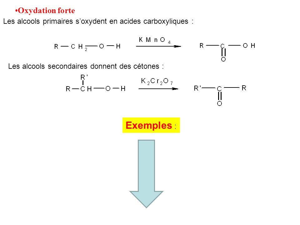 Oxydation forte Les alcools primaires soxydent en acides carboxyliques : Les alcools secondaires donnent des cétones : Exemples :