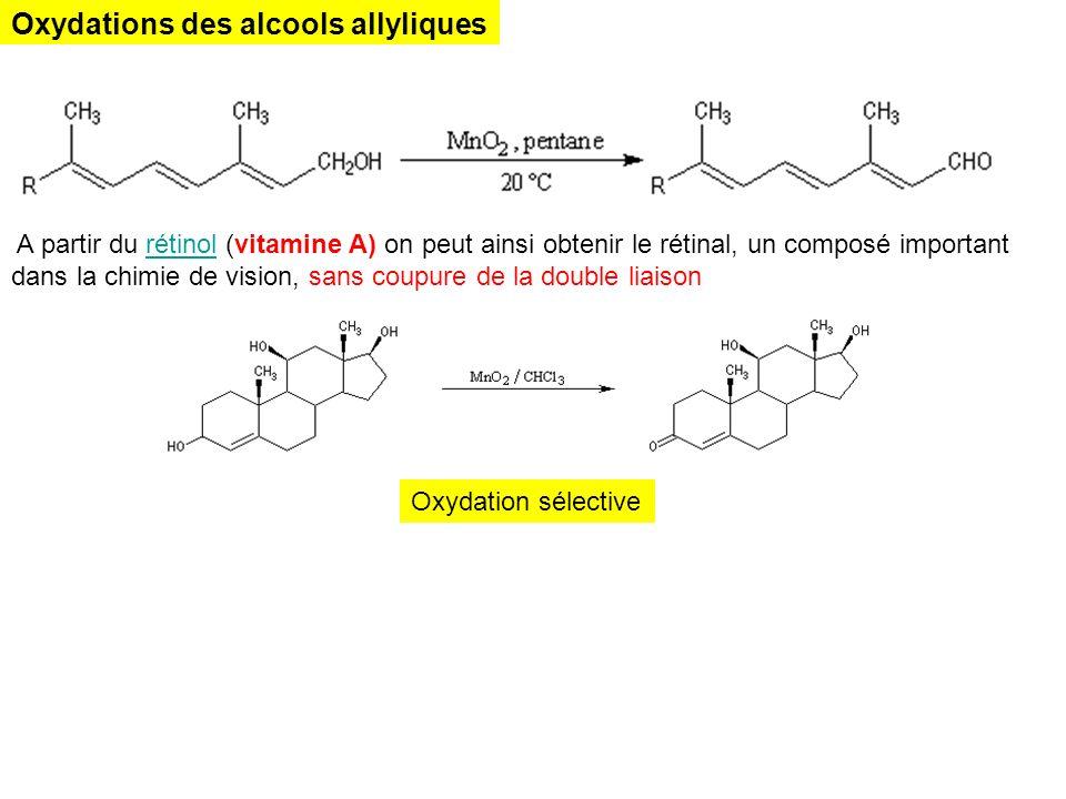 Oxydations des alcools allyliques A partir du rétinol (vitamine A) on peut ainsi obtenir le rétinal, un composé important dans la chimie de vision, sa
