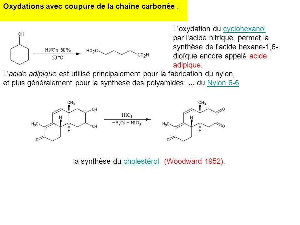 Oxydations avec coupure de la chaîne carbonée : L'oxydation du cyclohexanolcyclohexanol par l'acide nitrique, permet la synthèse de l'acide hexane-1,6