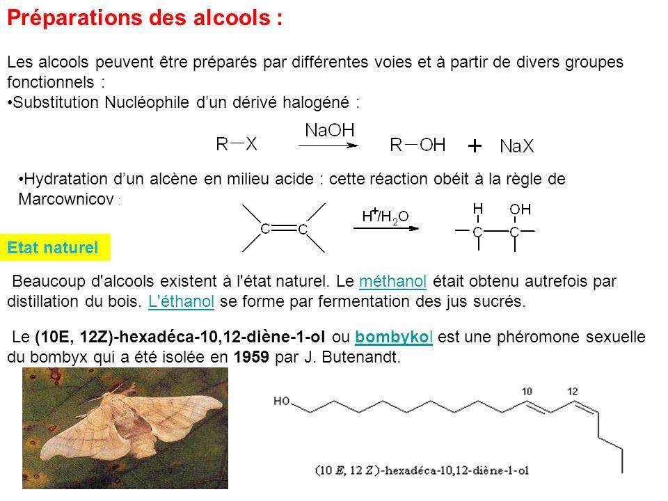 Préparations des alcools : Les alcools peuvent être préparés par différentes voies et à partir de divers groupes fonctionnels : Substitution Nucléophi