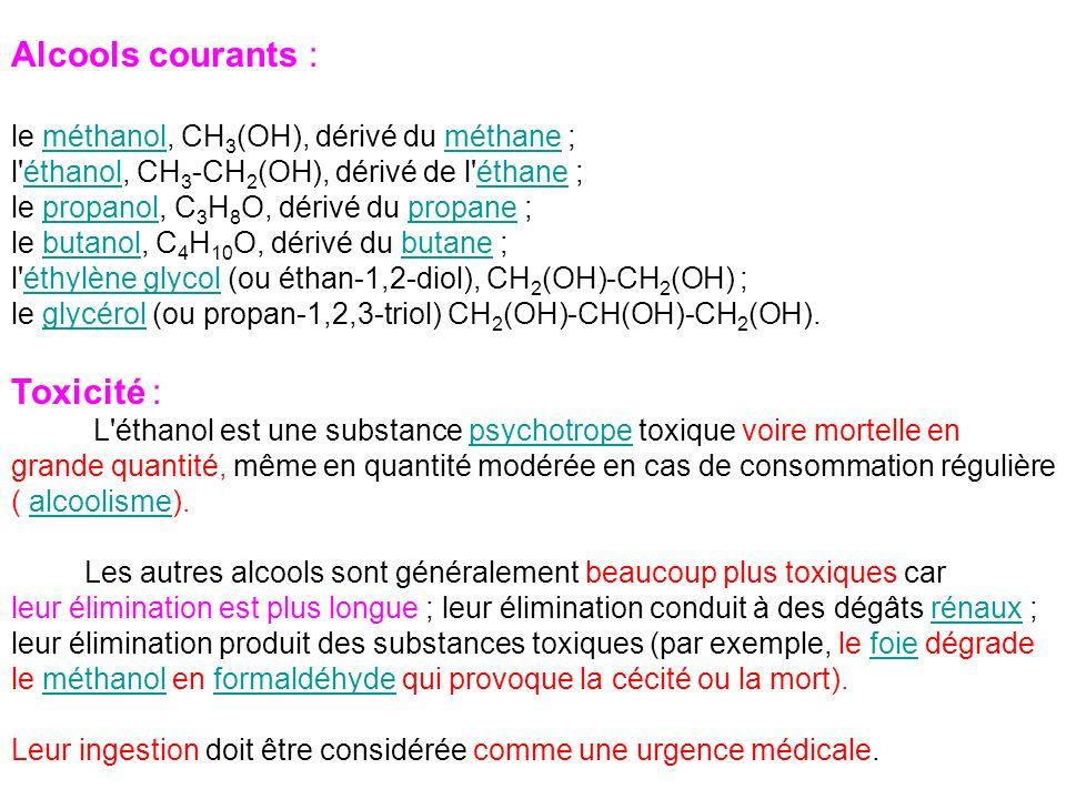 Alcools courants : le méthanol, CH 3 (OH), dérivé du méthane ;méthanolméthane l'éthanol, CH 3 -CH 2 (OH), dérivé de l'éthane ;éthanoléthane le propano
