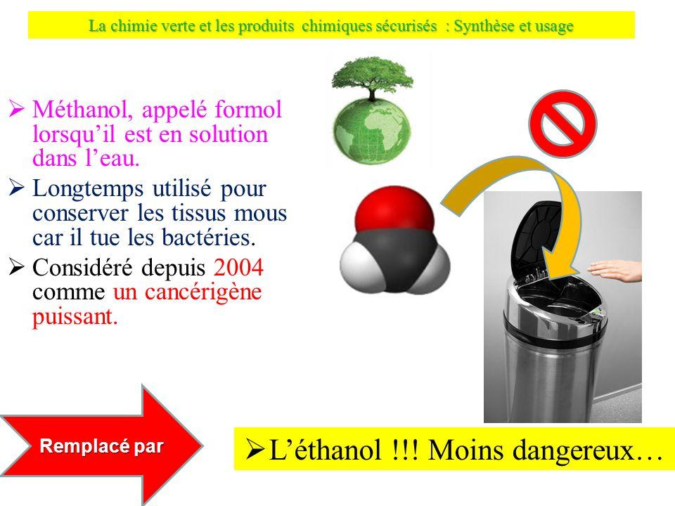 La chimie verte et les produits chimiques sécurisés : Synthèse et usage Méthanol, appelé formol lorsquil est en solution dans leau. Longtemps utilisé