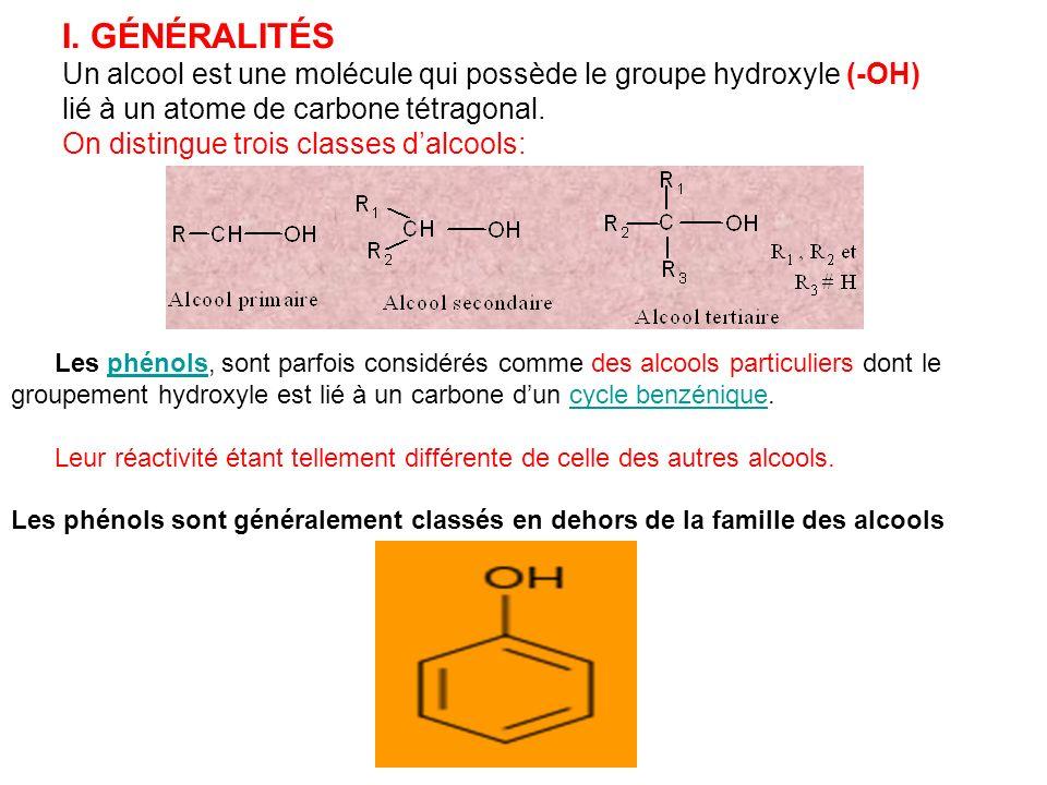 I. GÉNÉRALITÉS Un alcool est une molécule qui possède le groupe hydroxyle (-OH) lié à un atome de carbone tétragonal. On distingue trois classes dalco
