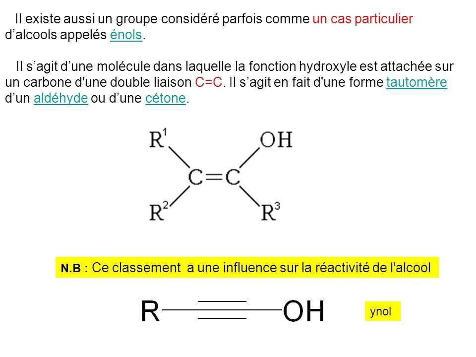Il existe aussi un groupe considéré parfois comme un cas particulier dalcools appelés énols.énols Il sagit dune molécule dans laquelle la fonction hyd