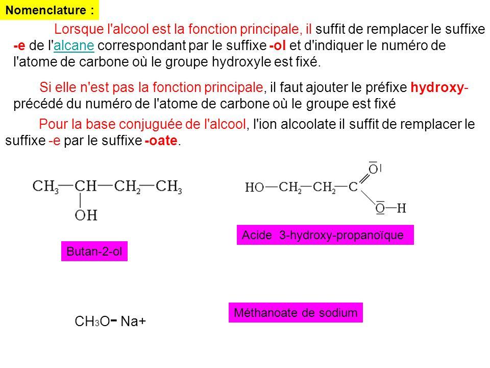 Nomenclature : Lorsque l'alcool est la fonction principale, il suffit de remplacer le suffixe -e de l'alcane correspondant par le suffixe -ol et d'ind