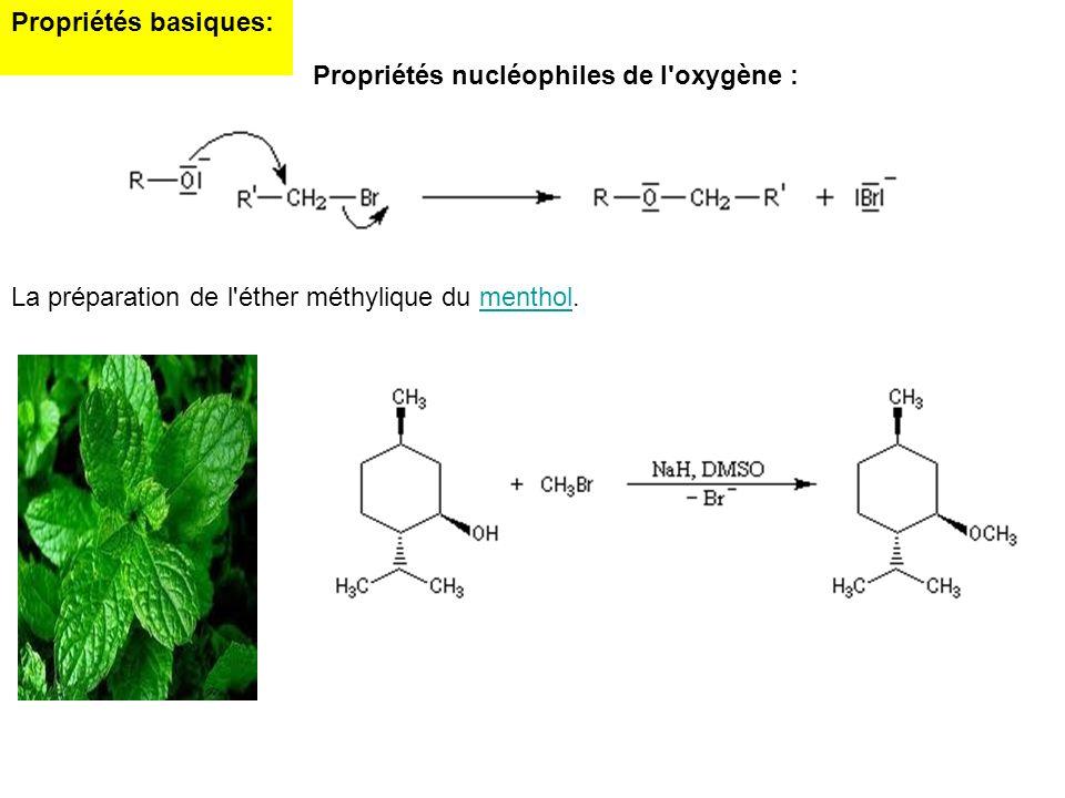 Propriétés basiques: Propriétés nucléophiles de l'oxygène : La préparation de l'éther méthylique du menthol.menthol