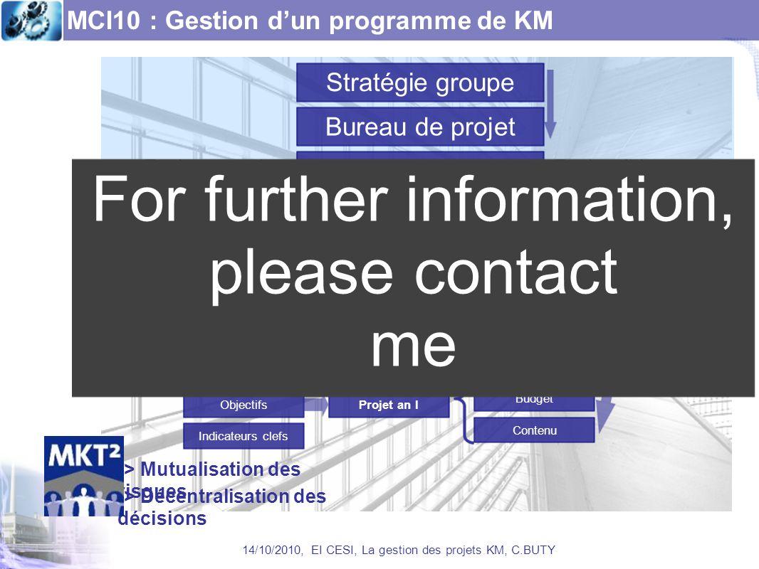 MCI10 : Gestion dun programme de KM 14/10/2010, EI CESI, La gestion des projets KM, C.BUTY Bureau de projet Objectifs an IObjectifs an II Projet an I