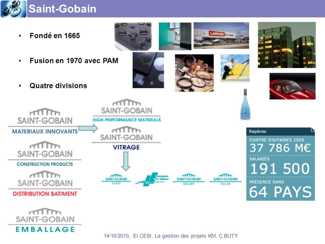 Saint-Gobain 14/10/2010, EI CESI, La gestion des projets KM, C.BUTY Fondé en 1665 Fusion en 1970 avec PAM Quatre divisions