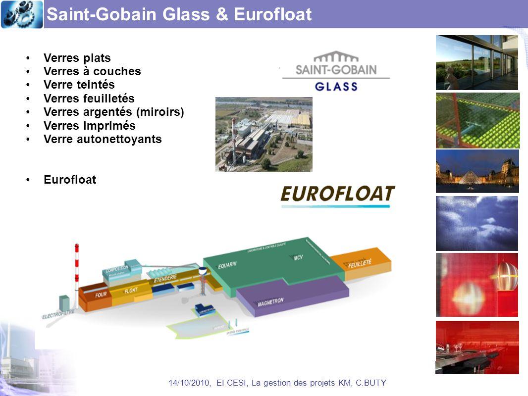 Saint-Gobain Glass & Eurofloat 14/10/2010, EI CESI, La gestion des projets KM, C.BUTY Verres plats Verres à couches Verre teintés Verres feuilletés Ve