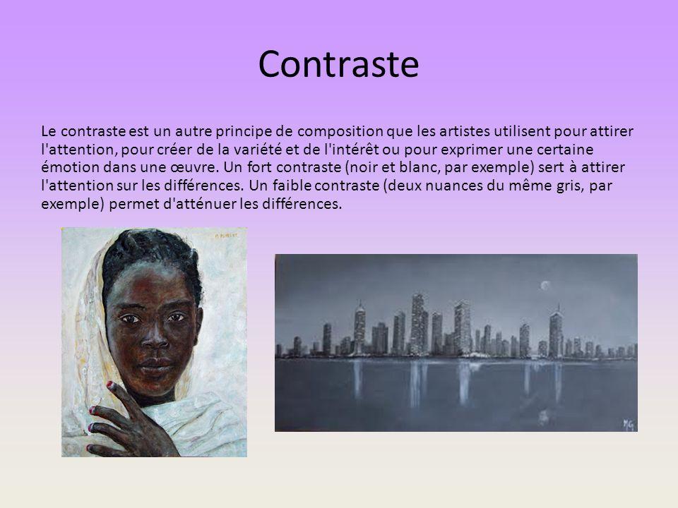 Contraste Le contraste est un autre principe de composition que les artistes utilisent pour attirer l'attention, pour créer de la variété et de l'inté