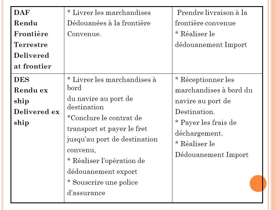 DAF Rendu Frontière Terrestre Delivered at frontier * Livrer les marchandises Dédouanées à la frontière Convenue.