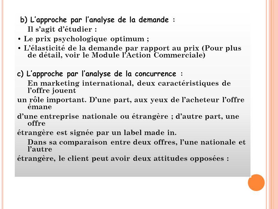 b) Lapproche par lanalyse de la demande : Il sagit détudier : Le prix psychologique optimum ; Lélasticité de la demande par rapport au prix (Pour plus
