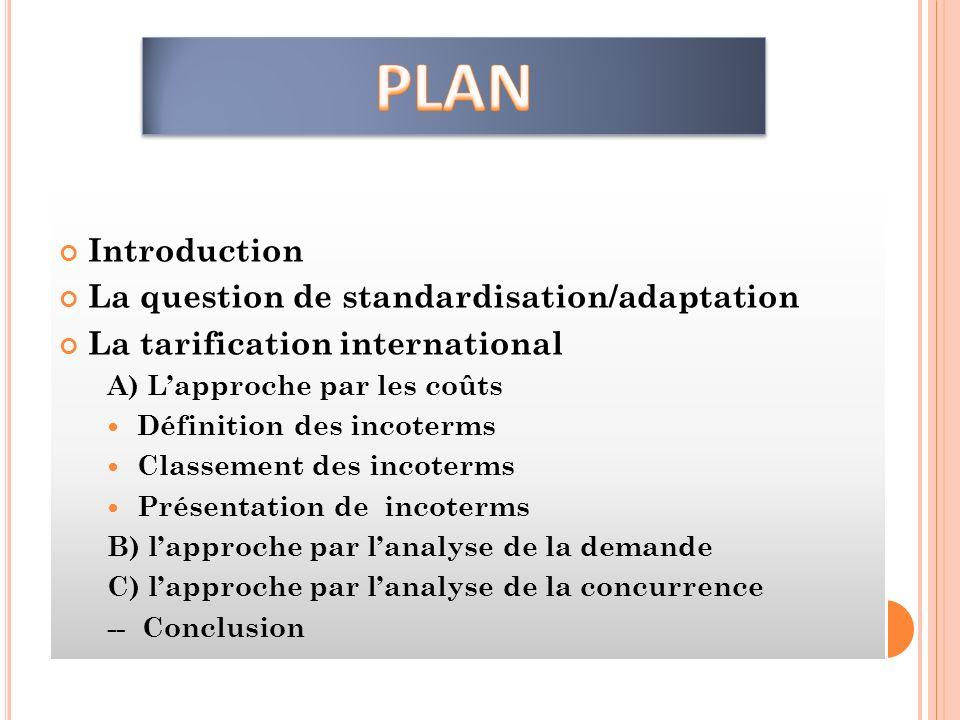 Introduction La question de standardisation/adaptation La tarification international A) Lapproche par les coûts Définition des incoterms Classement de