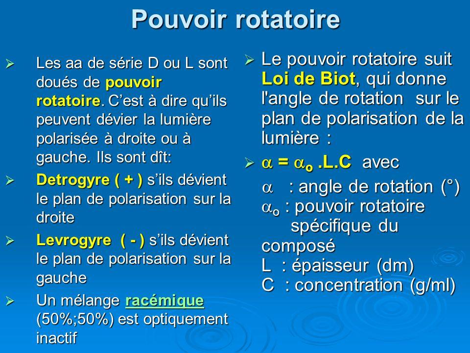 Pouvoir rotatoire Les aa de série D ou L sont doués de pouvoir rotatoire. Cest à dire quils peuvent dévier la lumière polarisée à droite ou à gauche.