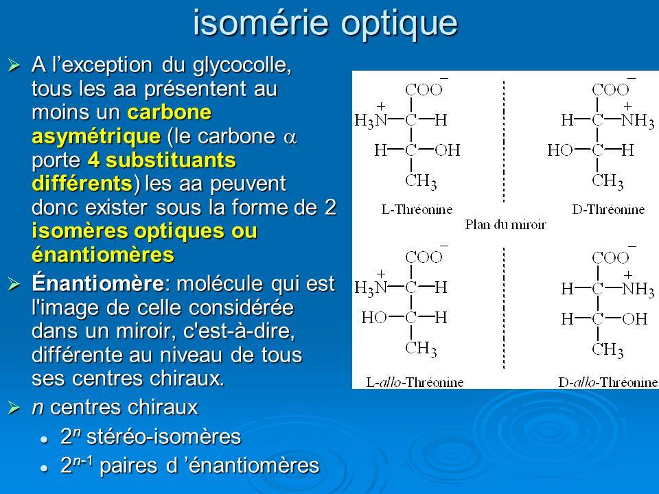 isomérie optique A lexception du glycocolle, tous les aa présentent au moins un carbone asymétrique (le carbone porte 4 substituants différents) les a
