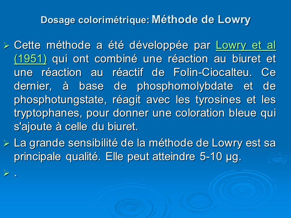 Dosage colorimétrique: Méthode de Lowry Cette méthode a été développée par Lowry et al (1951) qui ont combiné une réaction au biuret et une réaction a