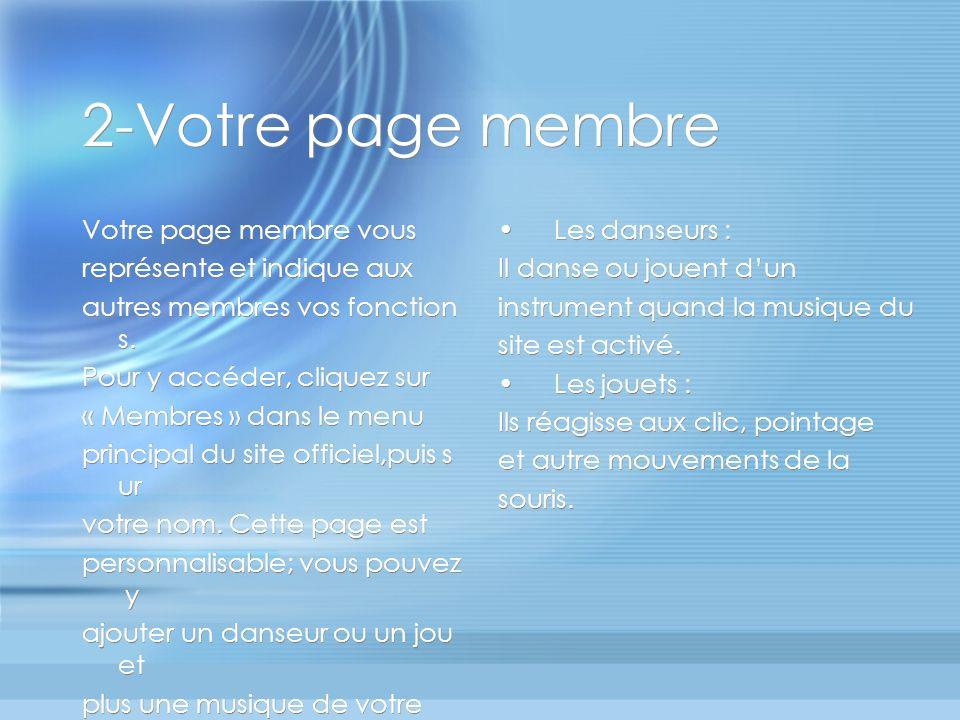 2-Votre page membre Votre page membre vous représente et indique aux autres membres vos fonction s.