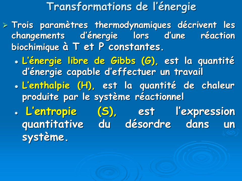 Transformations de lénergie Trois paramètres thermodynamiques décrivent les changements dénergie lors dune réaction biochimique à T et P constantes. T