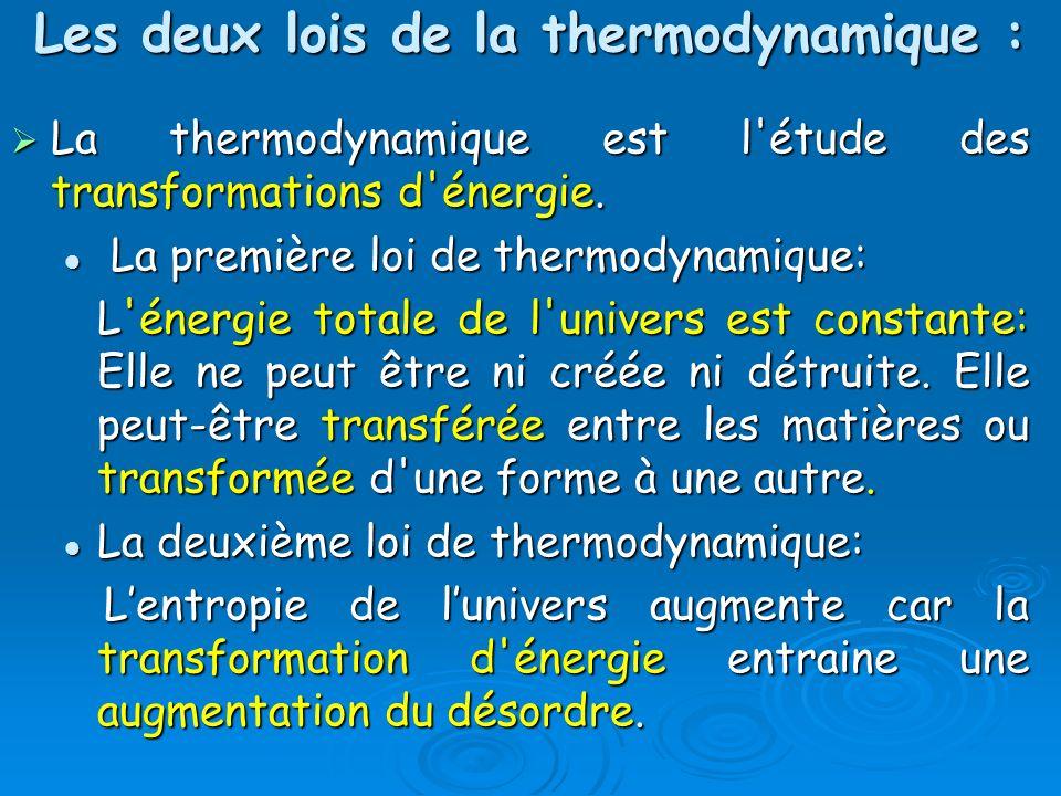 Les deux lois de la thermodynamique : La thermodynamique est l'étude des transformations d'énergie. La thermodynamique est l'étude des transformations