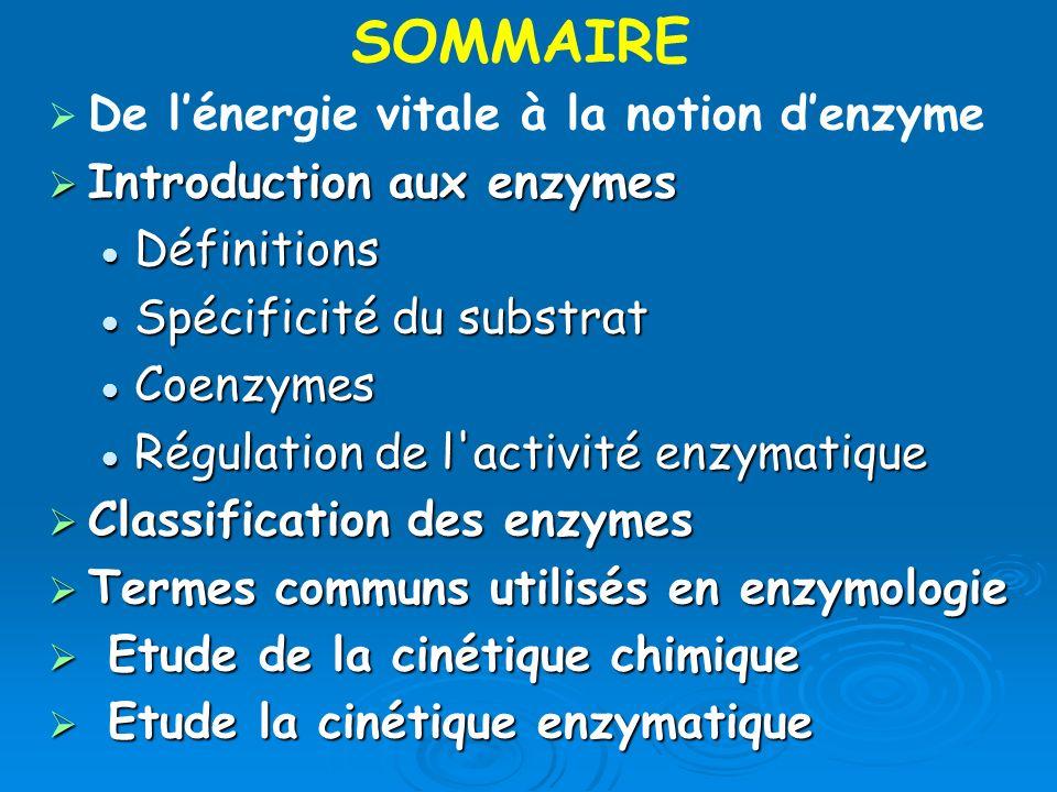 De lénergie vitale à la notion denzyme Introduction aux enzymes Introduction aux enzymes Définitions Définitions Spécificité du substrat Spécificité d