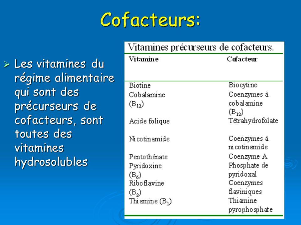 Cofacteurs: Les vitamines du régime alimentaire qui sont des précurseurs de cofacteurs, sont toutes des vitamines hydrosolubles Les vitamines du régim