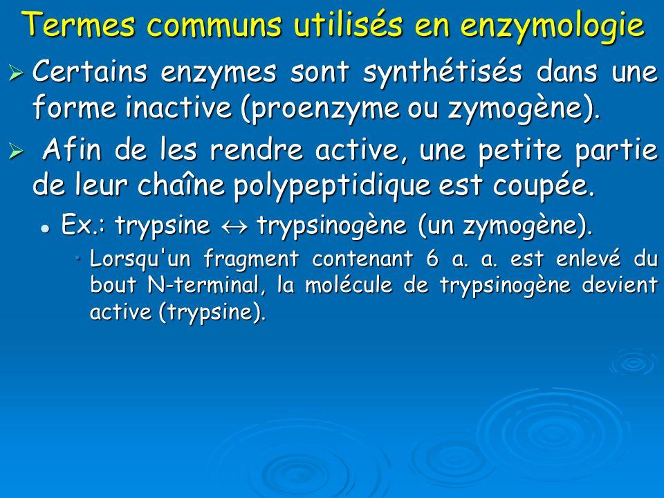 Termes communs utilisés en enzymologie Certains enzymes sont synthétisés dans une forme inactive (proenzyme ou zymogène). Certains enzymes sont synthé