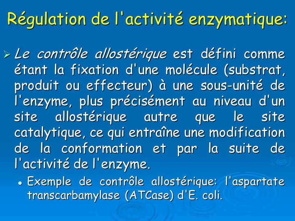 Régulation de l'activité enzymatique: Le contrôle allostérique est défini comme étant la fixation d'une molécule (substrat, produit ou effecteur) à un