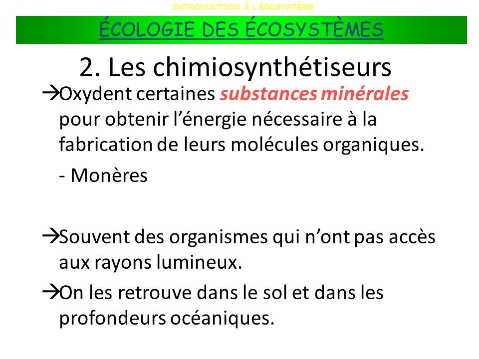 2. Les chimiosynthétiseurs Oxydent certaines substances minérales pour obtenir lénergie nécessaire à la fabrication de leurs molécules organiques. - M