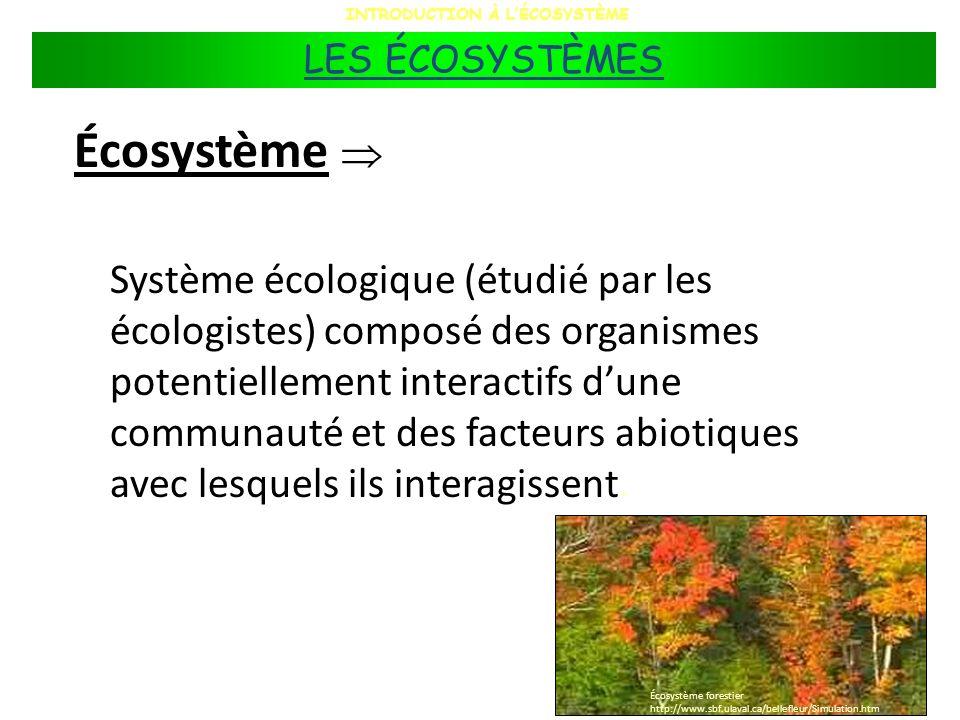 Écosystème Système écologique (étudié par les écologistes) composé des organismes potentiellement interactifs dune communauté et des facteurs abiotiqu