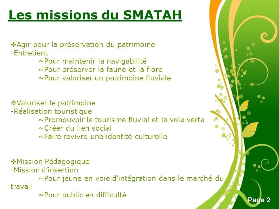 Free Powerpoint Templates Page 2 Les missions du SMATAH Agir pour la préservation du patrimoine -Entretient ~Pour maintenir la navigabilité ~Pour prés