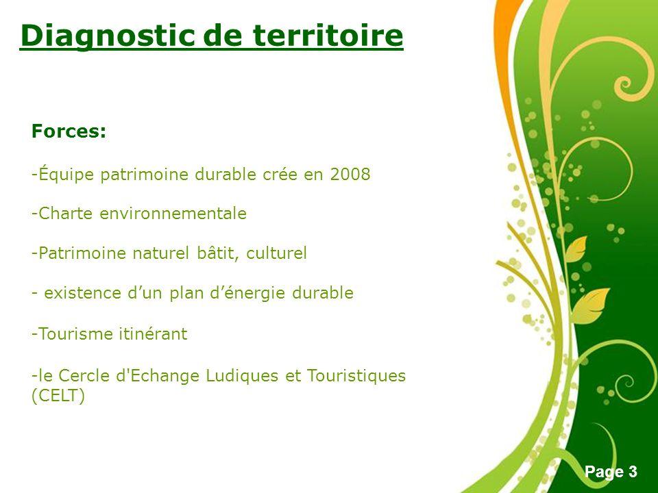 Free Powerpoint Templates Page 3 Diagnostic de territoire Forces: -Équipe patrimoine durable crée en 2008 -Charte environnementale -Patrimoine naturel