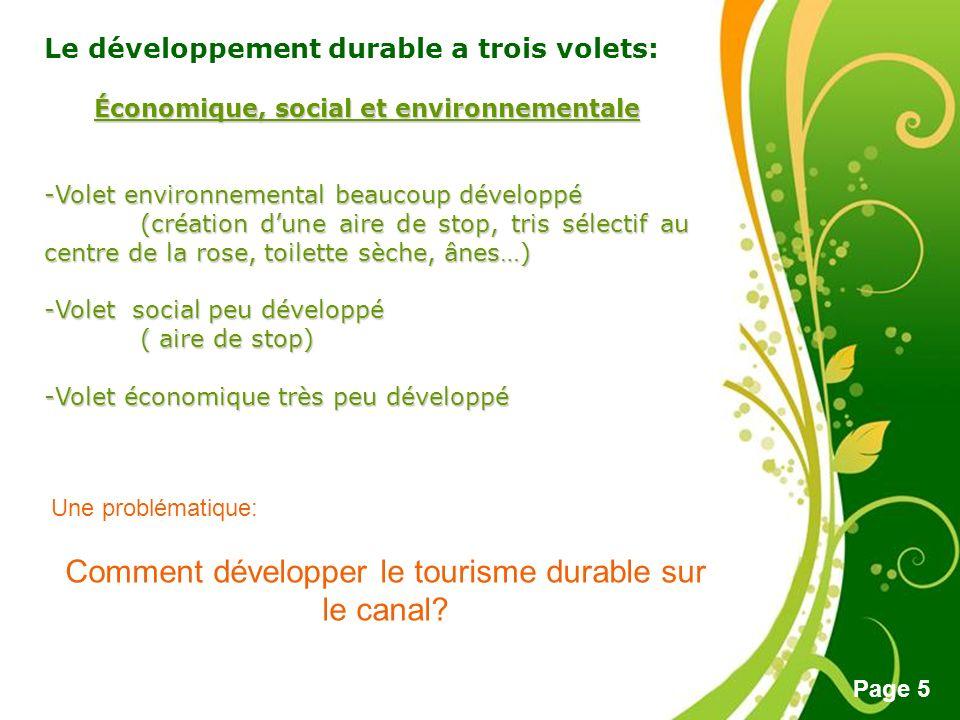 Free Powerpoint Templates Page 5 Le développement durable a trois volets: Économique, social et environnementale -Volet environnemental beaucoup dével