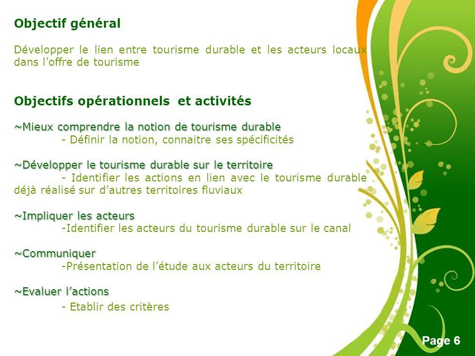 Free Powerpoint Templates Page 6 Objectif général Développer le lien entre tourisme durable et les acteurs locaux dans loffre de tourisme Objectifs op