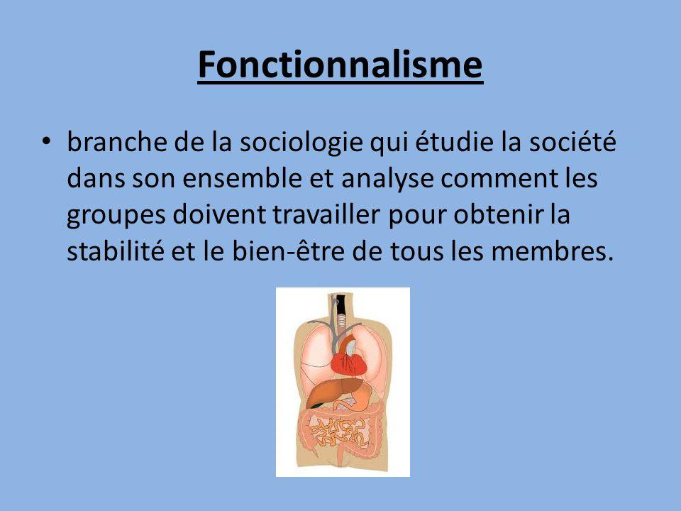 Fonctionnalisme branche de la sociologie qui étudie la société dans son ensemble et analyse comment les groupes doivent travailler pour obtenir la sta