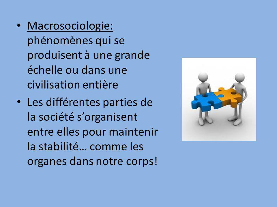 Macrosociologie: phénomènes qui se produisent à une grande échelle ou dans une civilisation entière Les différentes parties de la société sorganisent