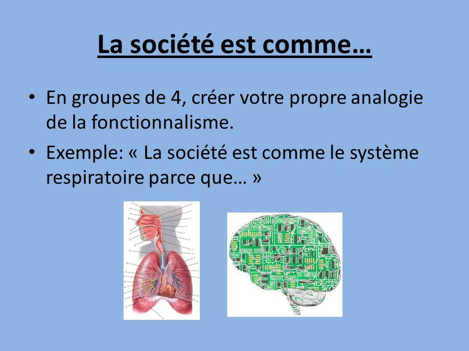 La société est comme… En groupes de 4, créer votre propre analogie de la fonctionnalisme. Exemple: « La société est comme le système respiratoire parc