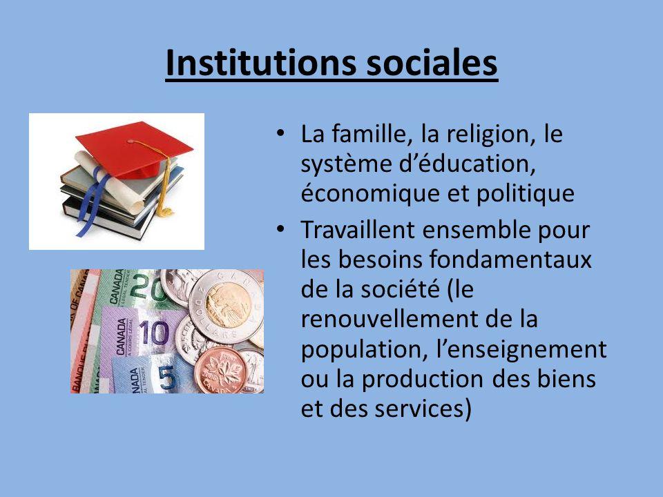 Institutions sociales La famille, la religion, le système déducation, économique et politique Travaillent ensemble pour les besoins fondamentaux de la